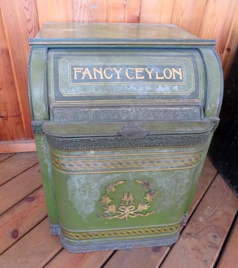 Large Henry Troemner, Fancy Ceylon roll top tea bin
