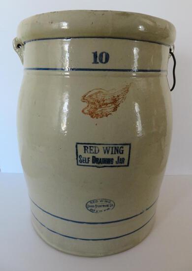 "Red Wing 10 gallon Self Draining Jar, 19"" tall"