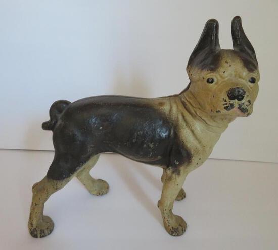 """Cast iron bull terrier door stop, 10"""""""