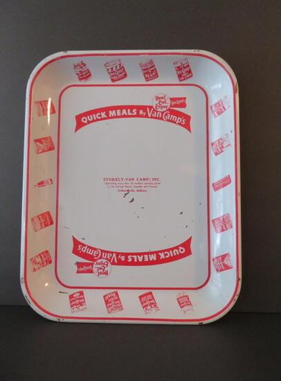 """Van Camps Baked Beans advertising tray, 13"""", Stokely"""