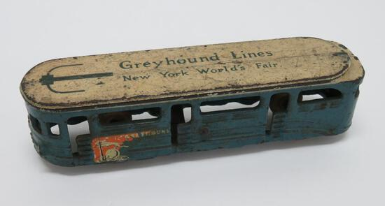 "Cast iron Greyhound Lines Bus, New York Worlds Fair, 7"""