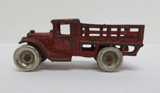 """Arcade cast iron stake bed truck, nickel plated tires, 213R, 5"""""""