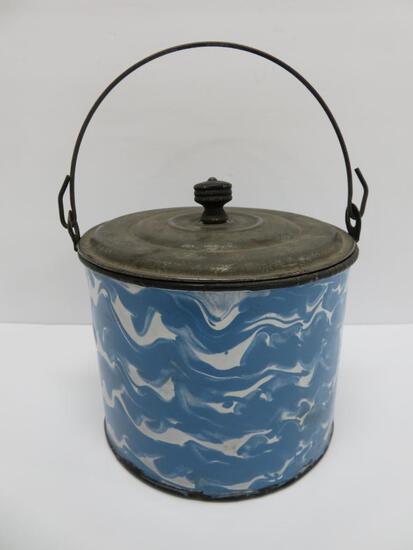 Blue and white graniteware swirl, enamelware berry bucket