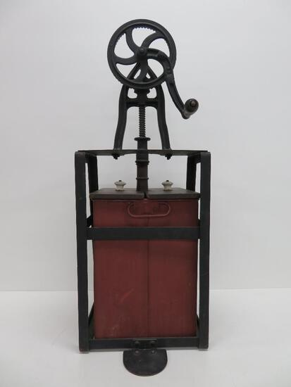 """Rotary table top butter churn, painted steel and wood, 28"""""""