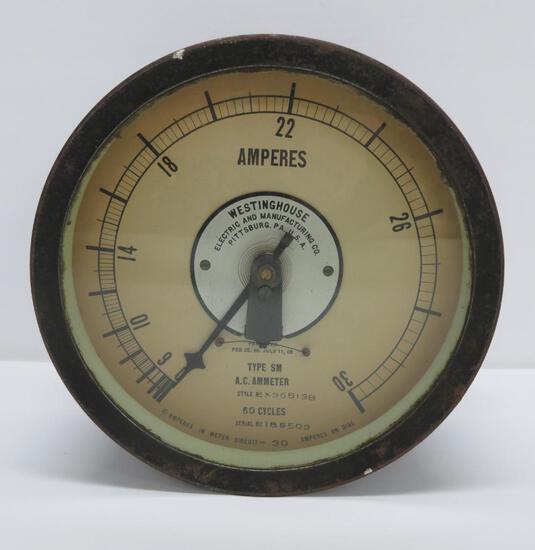 """Westinghouse gauge, AC Ammeter, 22 amps, 8"""""""