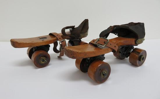 """Wooden roller skates, Union Hardware, Torrington Conn, 8"""""""