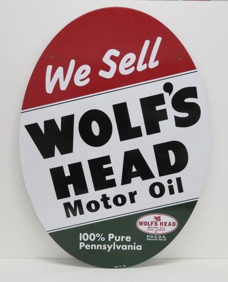"""Wolf's Head Motor Oil, lollipop sign, two sided, no stand, 35"""""""