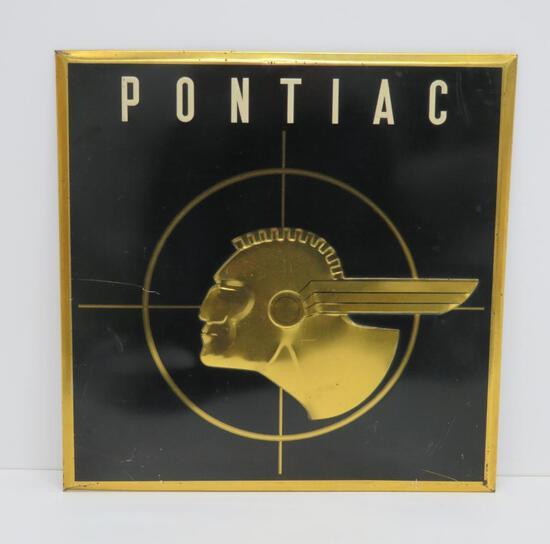"Pontiac advertising sign, 15 1/2"" x 16"""