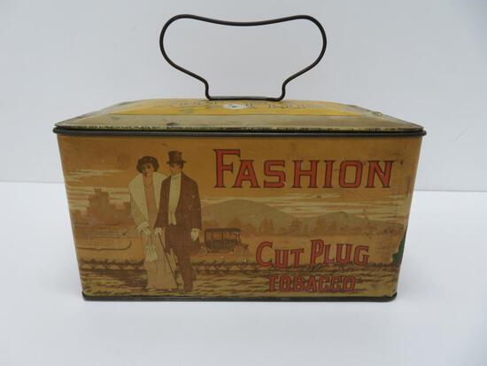 "Fashion Cut Plug Lunch Pail Style Tobacco Tin, 8"" x 5"" x 4"" tall"