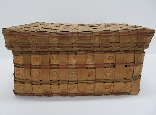 """Large Decorated Native American Basket, Signed, 18"""" x 14"""" x 10"""""""