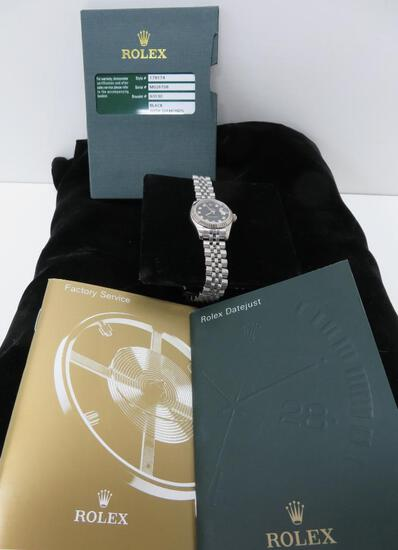 Ladies Rolex watch, Oyster perpetual Datejust, black face, diamonds