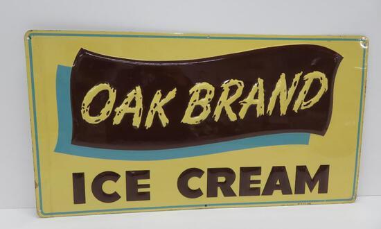"Metal Oak Brand Ice Cream Sign, MH Co 583, 28"" x 15"""