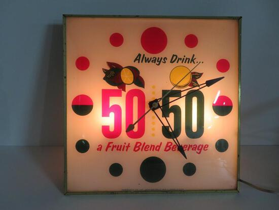 """50 50 Lighted Advertising Clock, 15"""", working"""