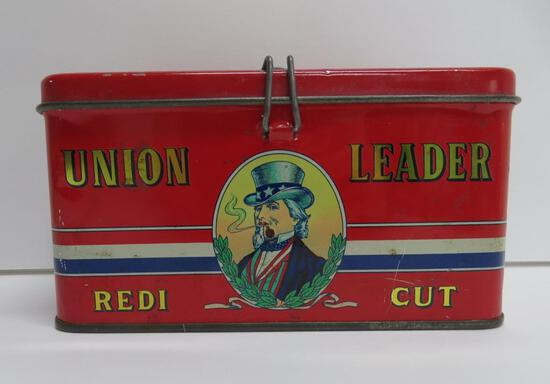 """Union Leader Redi Cut lunch box style tin, made in Italy, 7"""" x 4"""", Uncle Sam"""