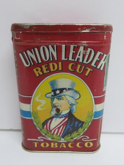 "Union Leader Redi Cut pocket tin, 1 3/4"", paper revenue tag, 4 1/2"" x 3"", Uncle Sam"