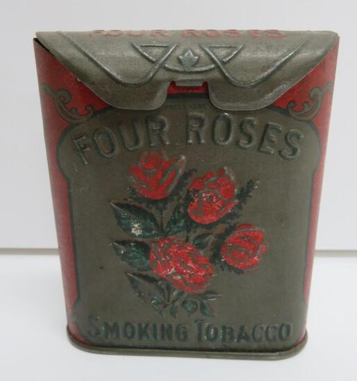"Four Roses metal flip top smoking tobacco tin, 3 1/2"" x 4"""