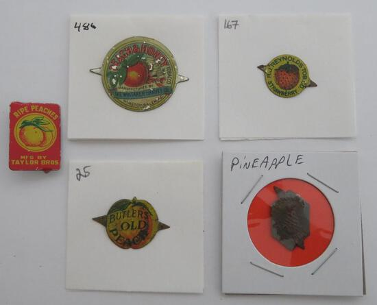 "Five chewing tobacco tin tags, fruit design, 3/4"" to 1 1/4"""
