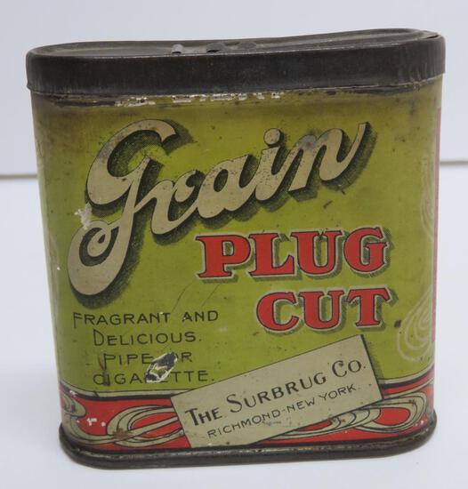 "Surbrug Co Grain Plug Cut tobacco tin, pocket tin, NY, 3 1/2"" x 3 1/4"""