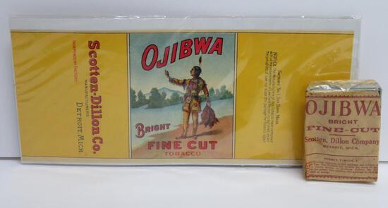 Ojibwa Bright Fine Cut tobacco pack, paper, and Label