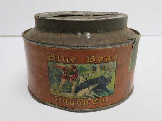Blue Boar rought cut tobacco tin, round 5""