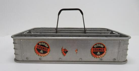 "Mission Orange metal soda tray carrier, 17"" x 12"""