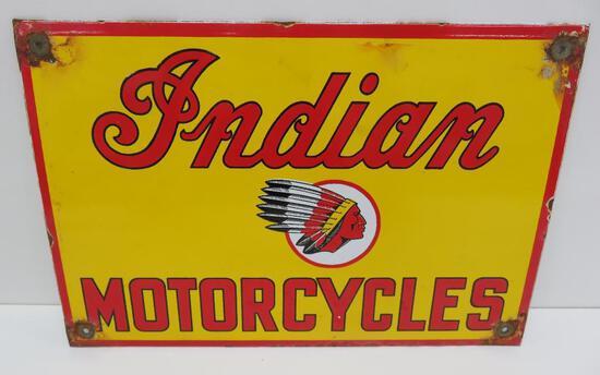 "Indian Motorcycle enamel sign, 12"" x 8"""