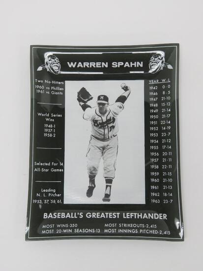"Warrren Spahn dish, glass, Milwaukee Braves, 7"" x 8 3/4"""
