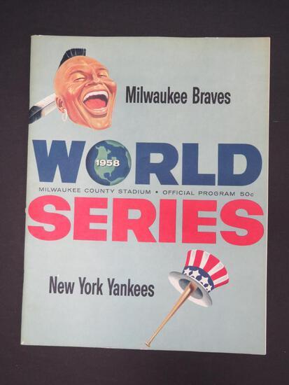 1958 World Series Program, Milwaukee Braves vs New York Yankees