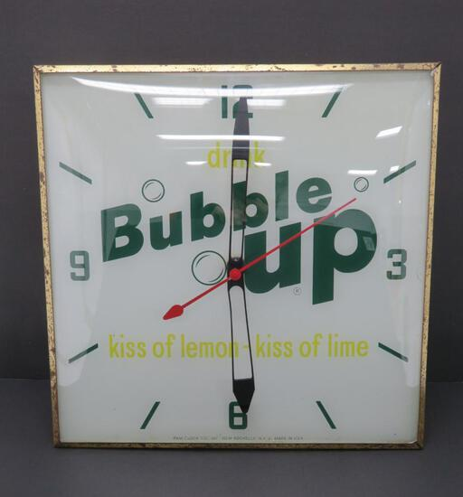 "Drink Bubble Up, Kiss of Lemon- Kiss of Lime, light up clock, 15"""