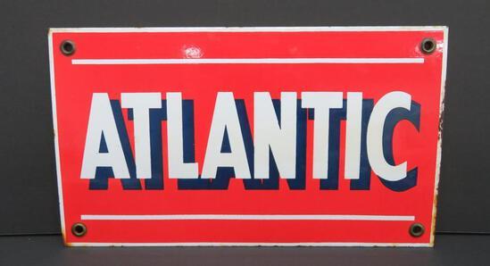 """Porcelain Atlantic Petroleum sign, 13"""" x 7 1/2"""""""
