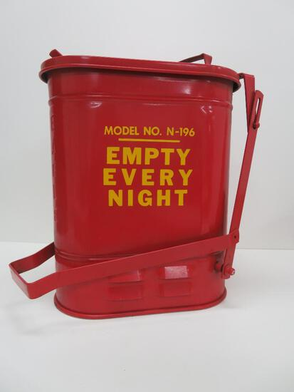 Eagle Model No N-196 gas station trash can and Mobil Oil hard hat
