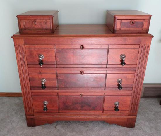 Lovely walnut dresser with hanky boxes