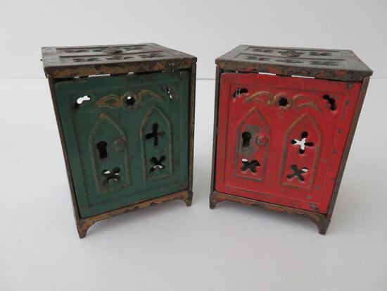 """Two metal safe still banks, 3"""""""