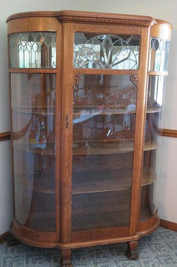 Outstanding leaded and beveled glass, clawfoot china cabinet, oak