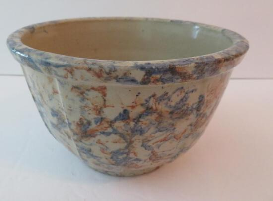 "J Yogerst Richfield Wis spongeware 6"" panel side mixing bowl"
