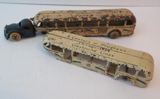 Cast iron Century of Progress Greyhound Lines bus trailer, Arcade