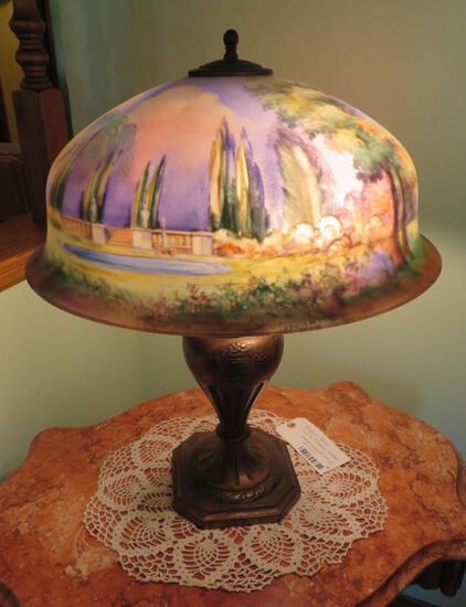 Outstanding signed H Fisher Reverse Painted Pairpoint lamp, Berkley Shade, Italian Garden Scenic