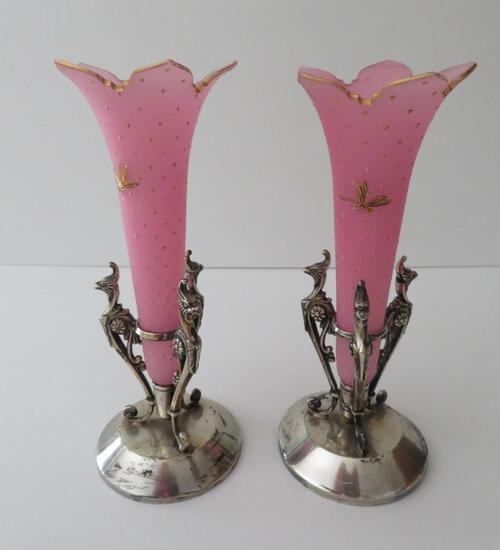 """Pink handpainted satin glass bud vases in metal holders, 7 1/4"""""""