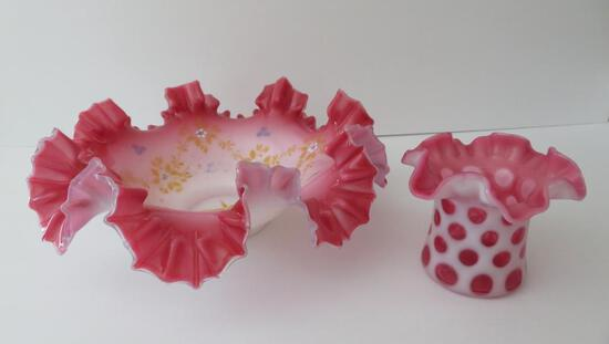 Cranberry glass brides basket and coin spot hat vase