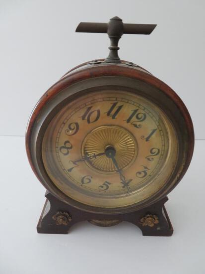 "Wurttemberg alarm clock, c 1847, wooden, 8 1/2"""
