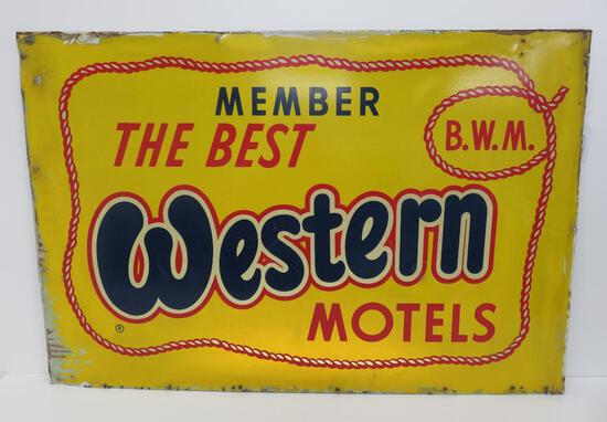 """The Best Western motels sign, 36""""x 24"""", metal"""