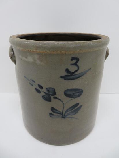 "Three gallon cobalt floral decorated crock, 11"""