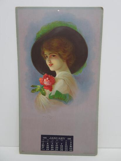 1915 Calendar, January, pretty lady, Hayes litho