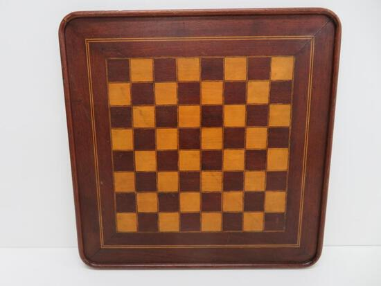 """Early wooden checker board, some inlay, 14 1/2"""""""