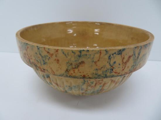 "Bartelt & Loebrke Bro's IGA Store Theresa, Wis ribbed spongeware mixing bowl 7 1/2"""