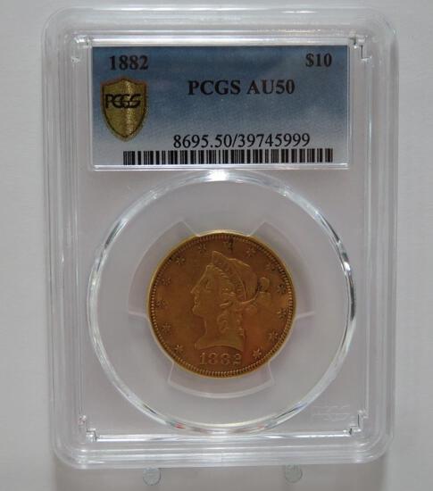 1882 $10 Gold piece PCGS AU50