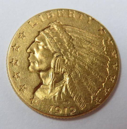 1912 2 1/2 dollar gold piece