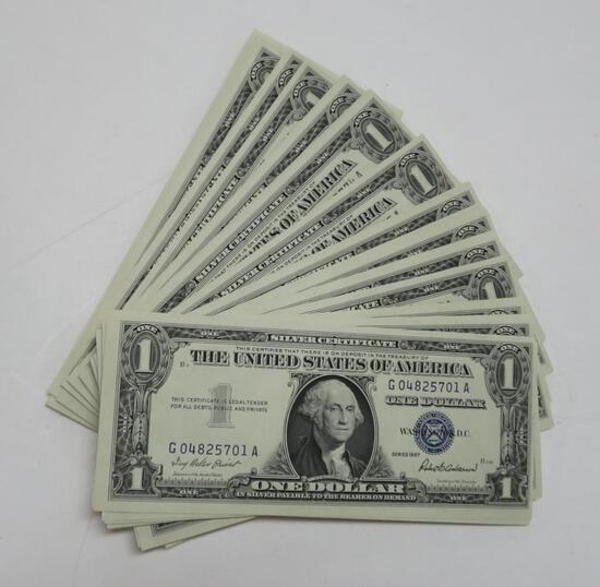 100 Sequential silver certificates, series 1957, G04825701A to G04825800A