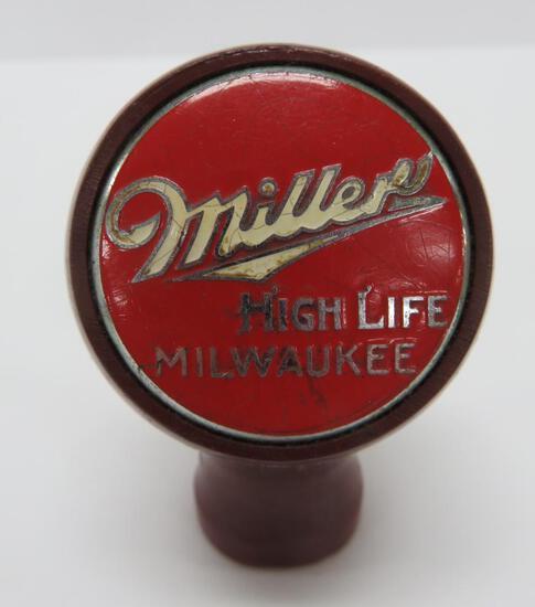 Miller ball knob, beer tapper marker, maroon