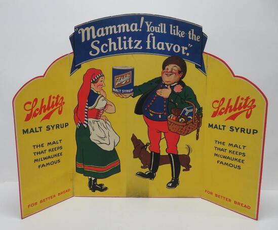 """Schlitz prohibition era cardboard sign, Schlitz malt syrup, 30"""" x 33 3/4"""""""